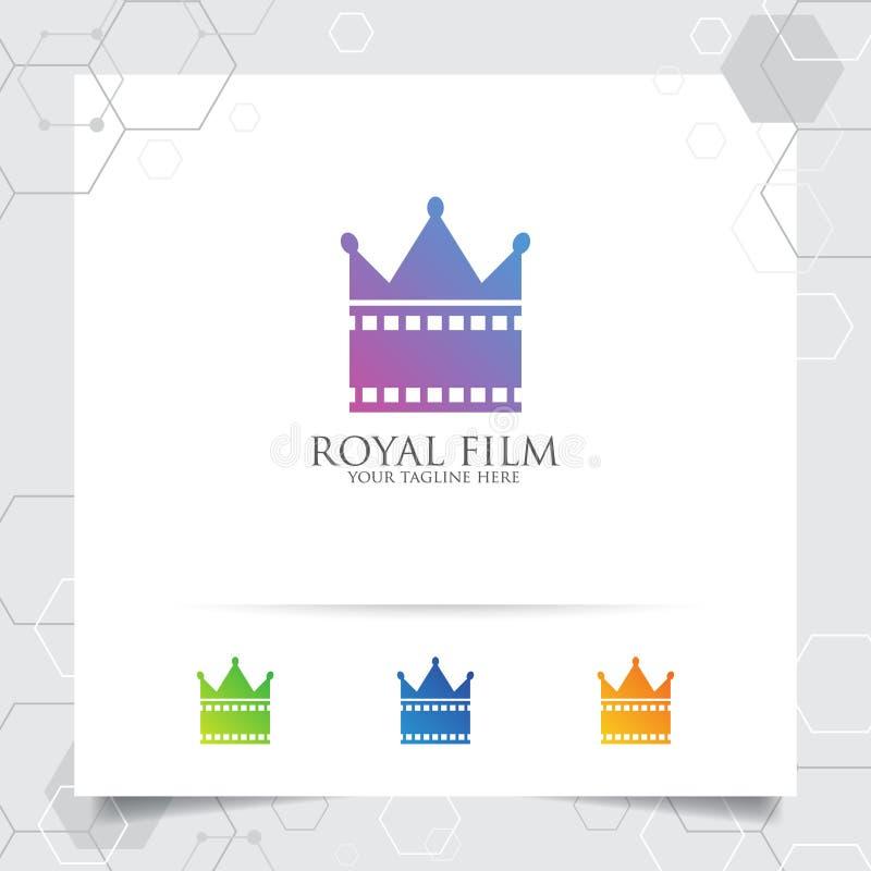 Вектор логотипа кино фильма с концепцией stip фильма и дизайна для студии звукозаписи, продукции значка кроны фильма, директора и иллюстрация вектора