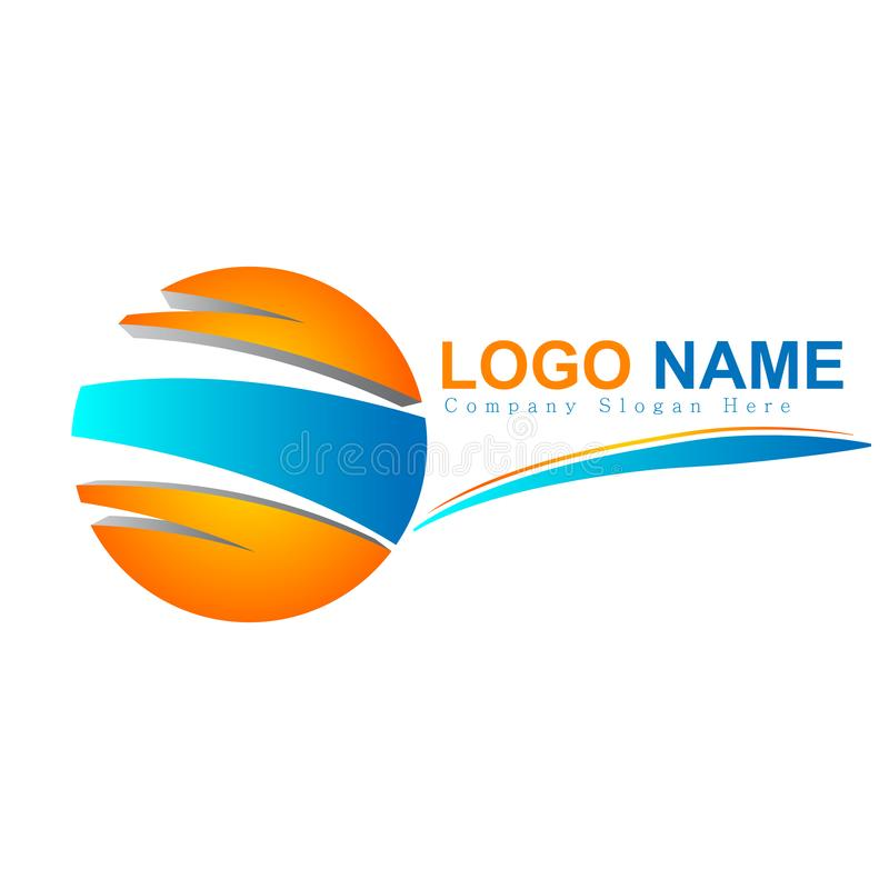 Вектор логотипа круга 3d иллюстрация штока