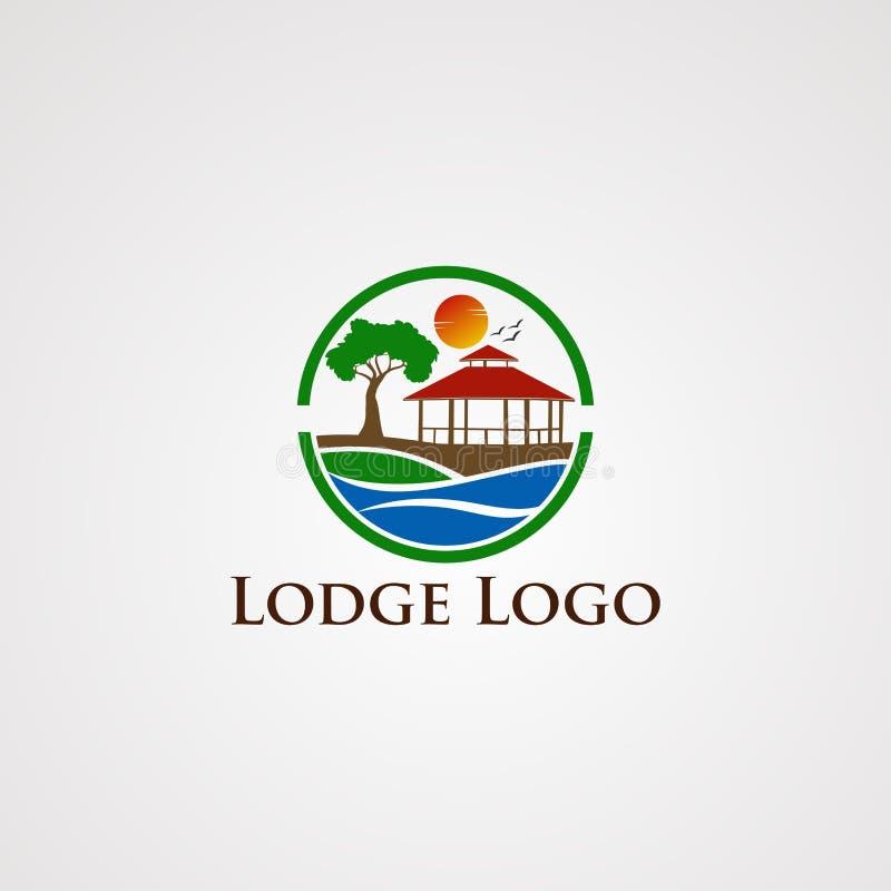Вектор логотипа ложи с летящей птицей, шаблоном, элементом, и значком солнца волны круга красивыми иллюстрация штока