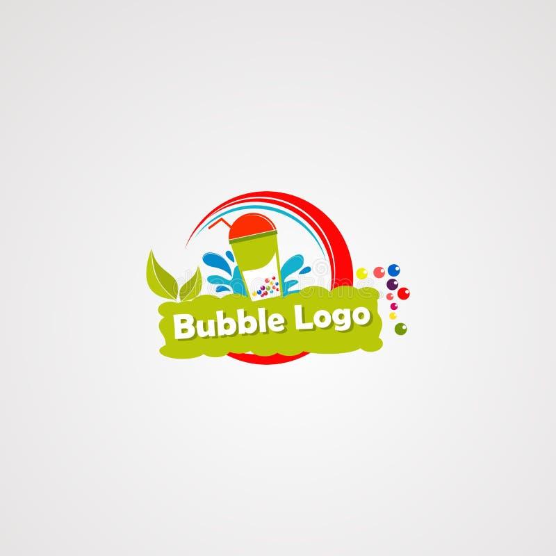 Вектор логотипа напитка пузыря со свежим выплеском лист и воды, значком, элементом, и шаблоном для компании иллюстрация вектора