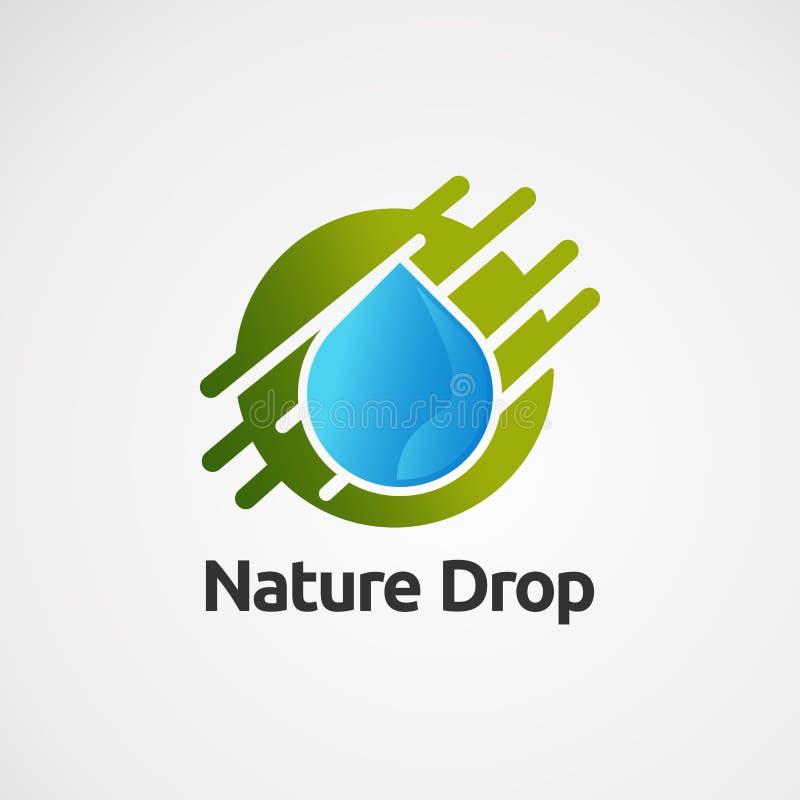 Вектор логотипа падения природы с выплеском, значком, элементом, и шаблоном круга для компании иллюстрация штока
