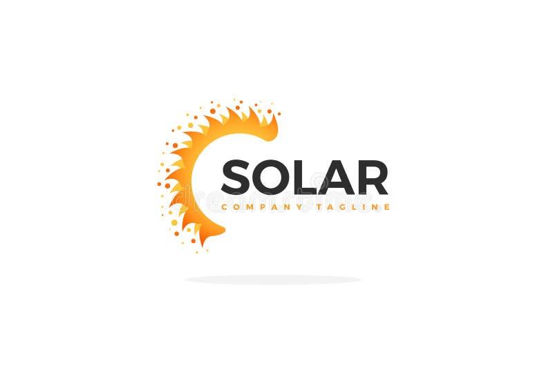 Вектор логотипа панели солнечных батарей в форме половинного Солнця иллюстрация штока