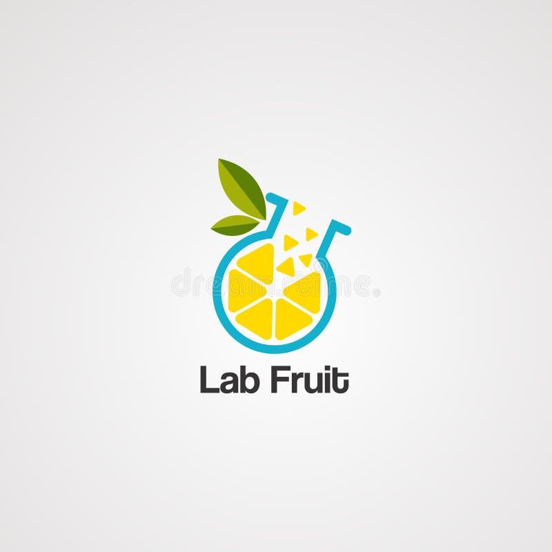 Вектор логотипа плода лаборатории, значок, элемент, шаблон иллюстрация вектора