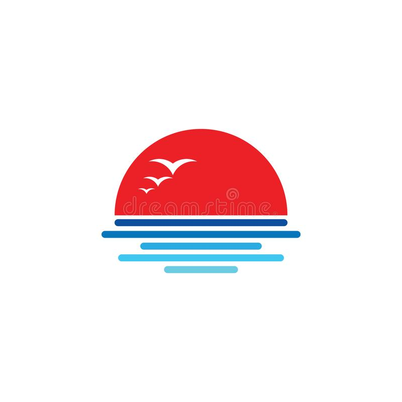 Вектор логотипа символа пляжа захода солнца чайки иллюстрация штока