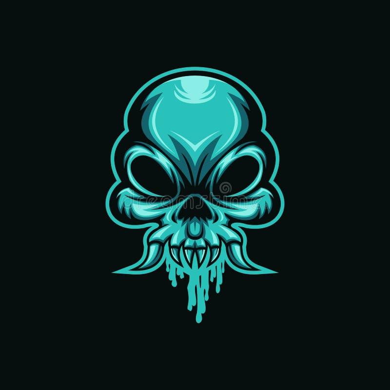 Вектор логотипа чудовища головы слизи черепа иллюстрация вектора