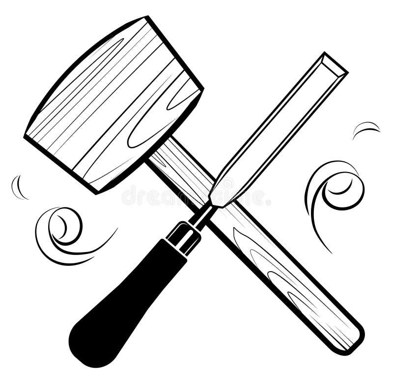 Вектор логотипа эмблемы инструментов Woodworking и плотничества Мушкел и зубило иллюстрация вектора