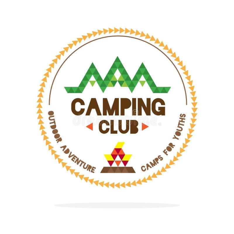 Вектор: Логотип клуба располагаться лагерем молодости с горой и огнем лагеря внутри иллюстрация вектора