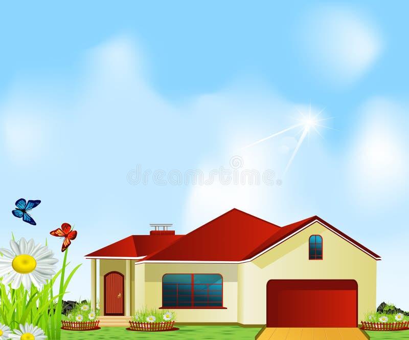 вектор лужка дома стоящий иллюстрация штока