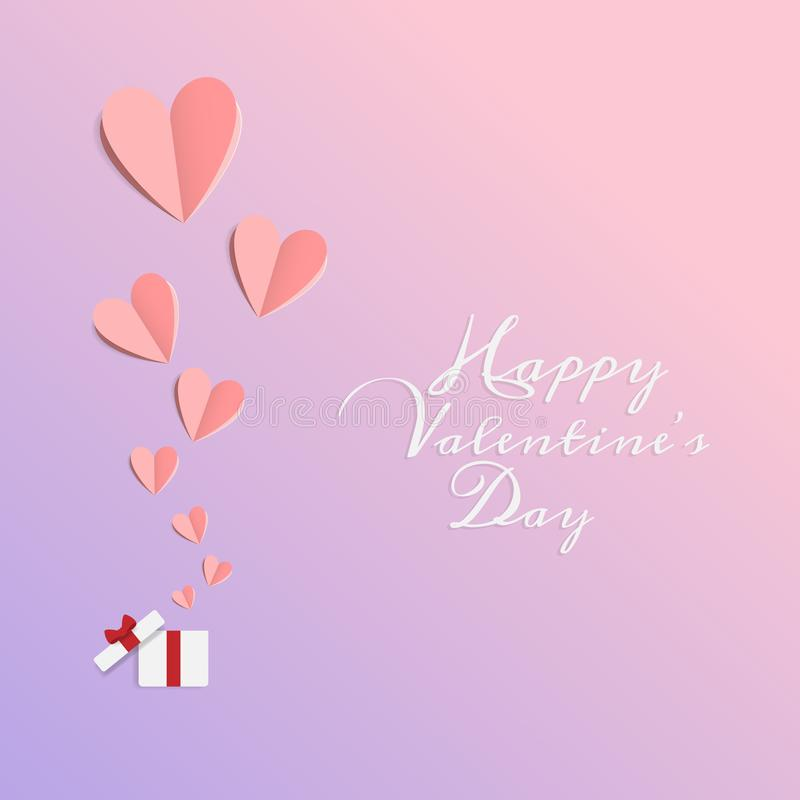 Вектор любов и счастливого дня Святого Валентина бумага отрезка элементов дизайна origami сделала открытую подарочную коробку с п иллюстрация штока