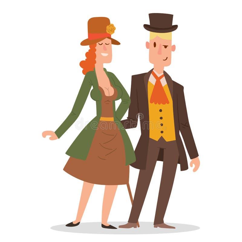 Вектор людей винтажных викторианских gents шаржа ретро Антиквариата одежды джентльмена моды стиля старые люди викторианского иллюстрация вектора