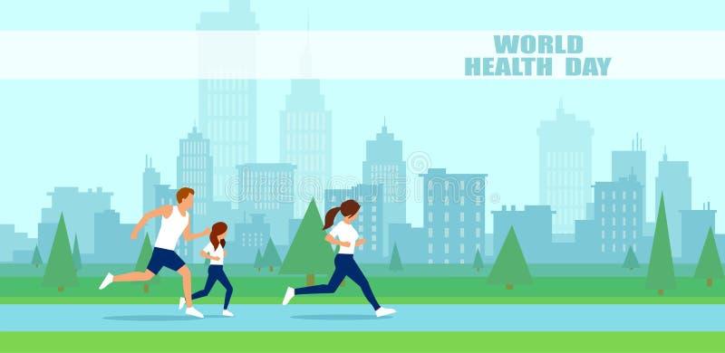 Вектор людей семья jogging на день здоровья мира иллюстрация штока