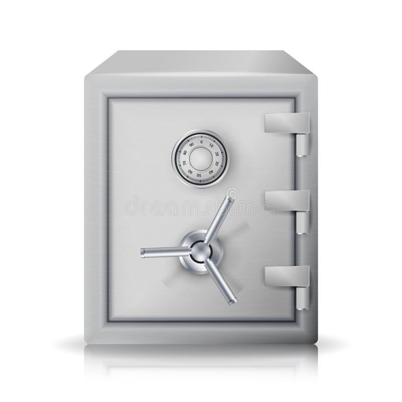 Вектор металла безопасный реалистический иллюстрация 3d Коробка металла значка изолированная на белой предпосылке Вид спереди иллюстрация вектора