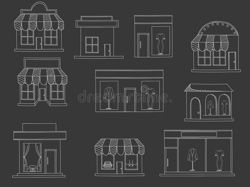 Вектор мела зданий магазина иллюстрация вектора