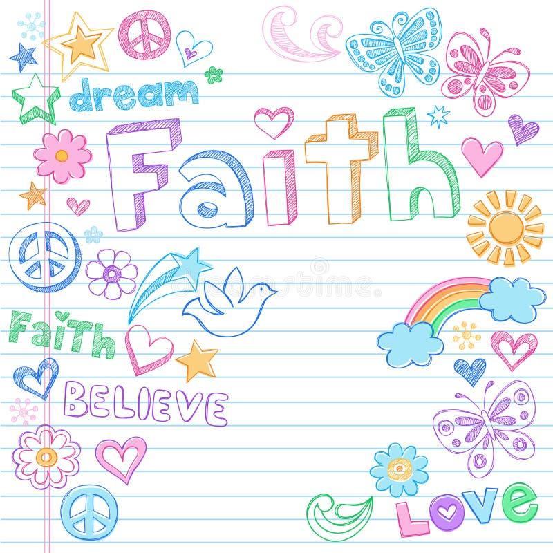 вектор мира веры dove doodles схематичный иллюстрация штока