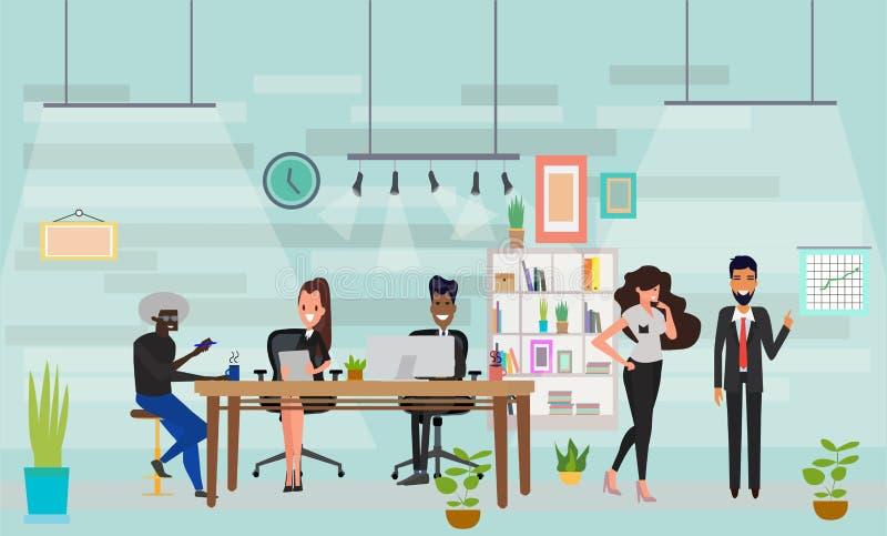 Вектор многокультурных бизнесменов объединяется в команду говорить и работа на компьютерах в офисе открытого пространства бесплатная иллюстрация