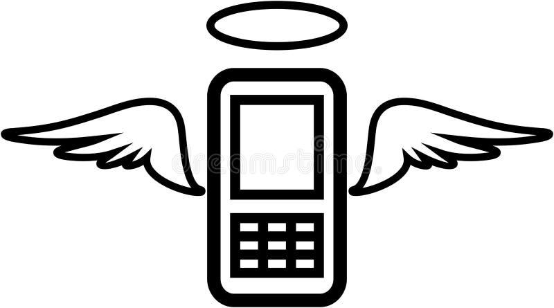вектор мобильного телефона иллюстрации ангела смешной иллюстрация вектора
