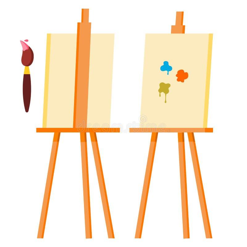 Вектор мольберта Символ значка искусства картины brusher Холст для эскиза Изолированная иллюстрация шаржа иллюстрация вектора