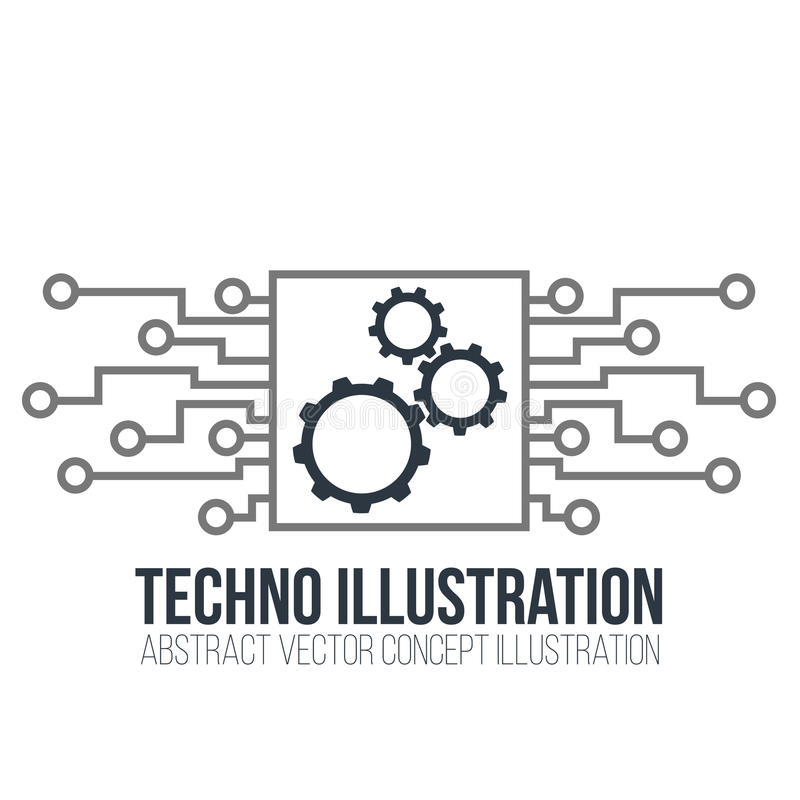 Вектор монтажной платы на белой предпосылке Шестерни, инженерство и техник, материнская плата и компьютер конструируют, иллюстрац иллюстрация штока