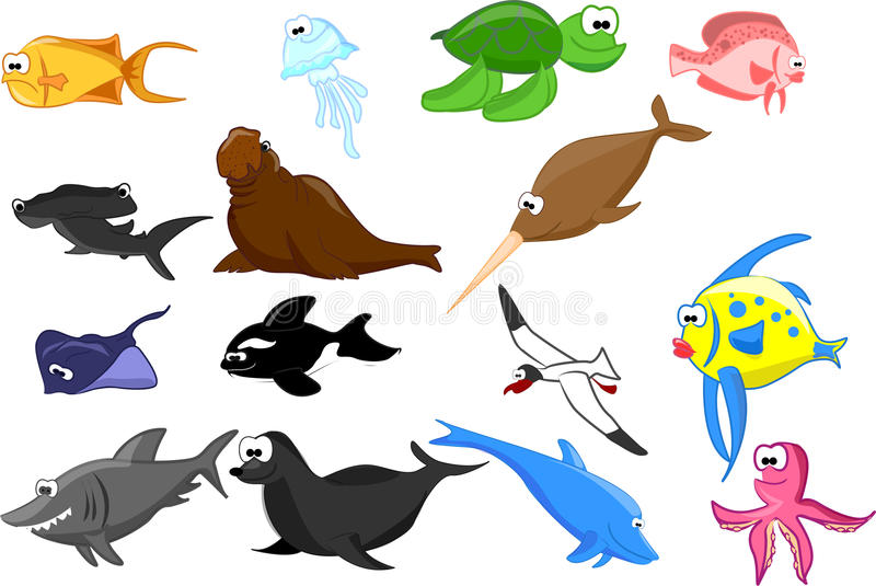 вектор морского пехотинца животных установленный иллюстрация вектора