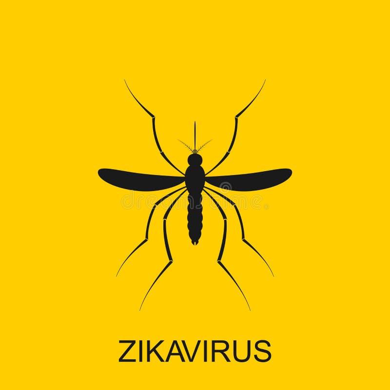 Вектор москита Zika Сигнал тревоги вируса Aedes Aegypti на белой предпосылке бесплатная иллюстрация