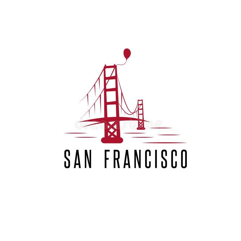 Вектор моста и воздушного шара золотого строба Сан-Франциско конструирует бесплатная иллюстрация