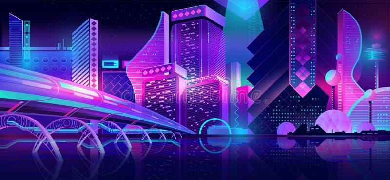 Вектор мультфильма будущего ландшафта ночи города неоновый иллюстрация вектора
