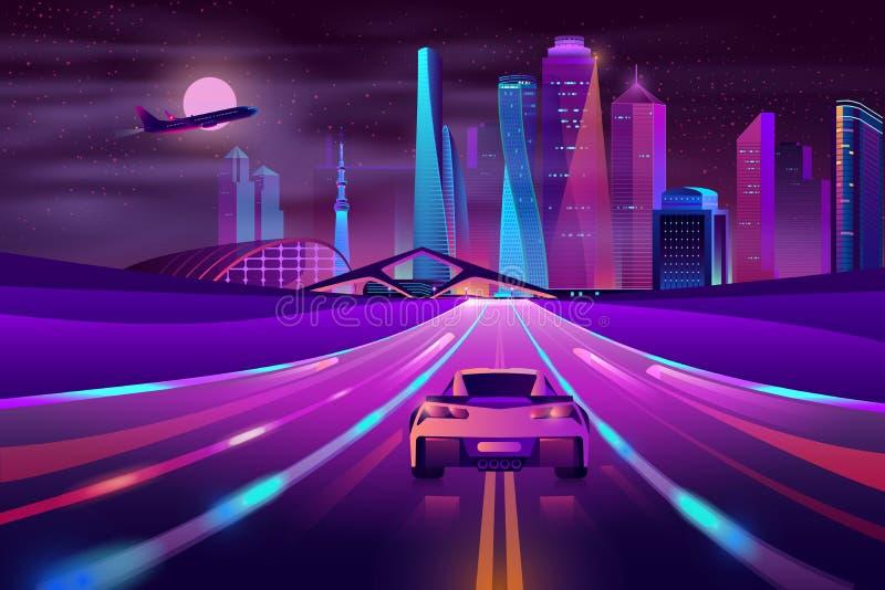 Вектор мультфильма будущего шоссе метрополии неоновый иллюстрация штока