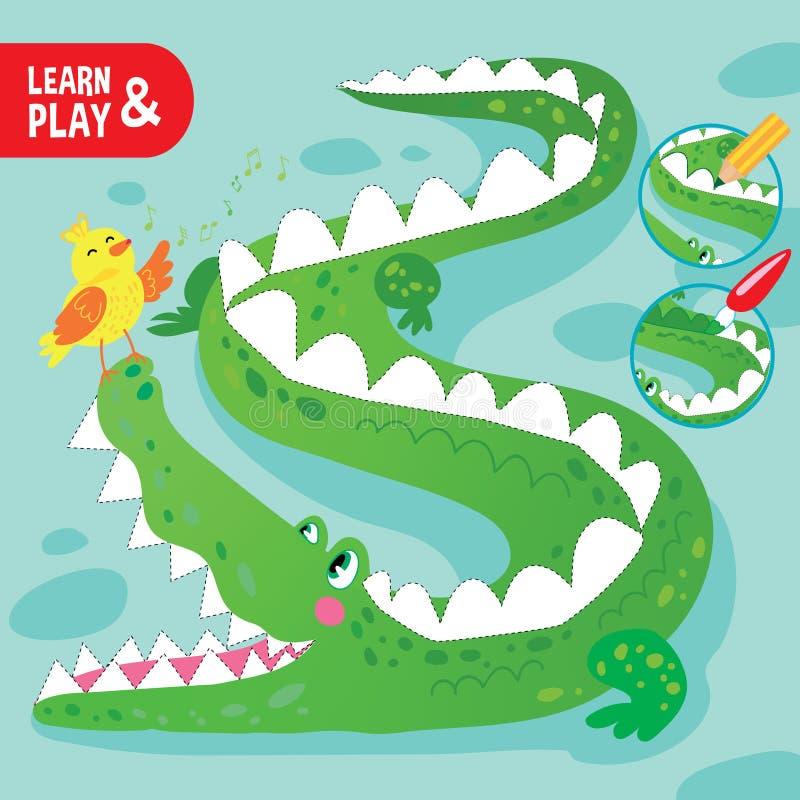 Вектор мультфильма рабочего листа крокодила игры ребенк крася Printable бесплатная иллюстрация