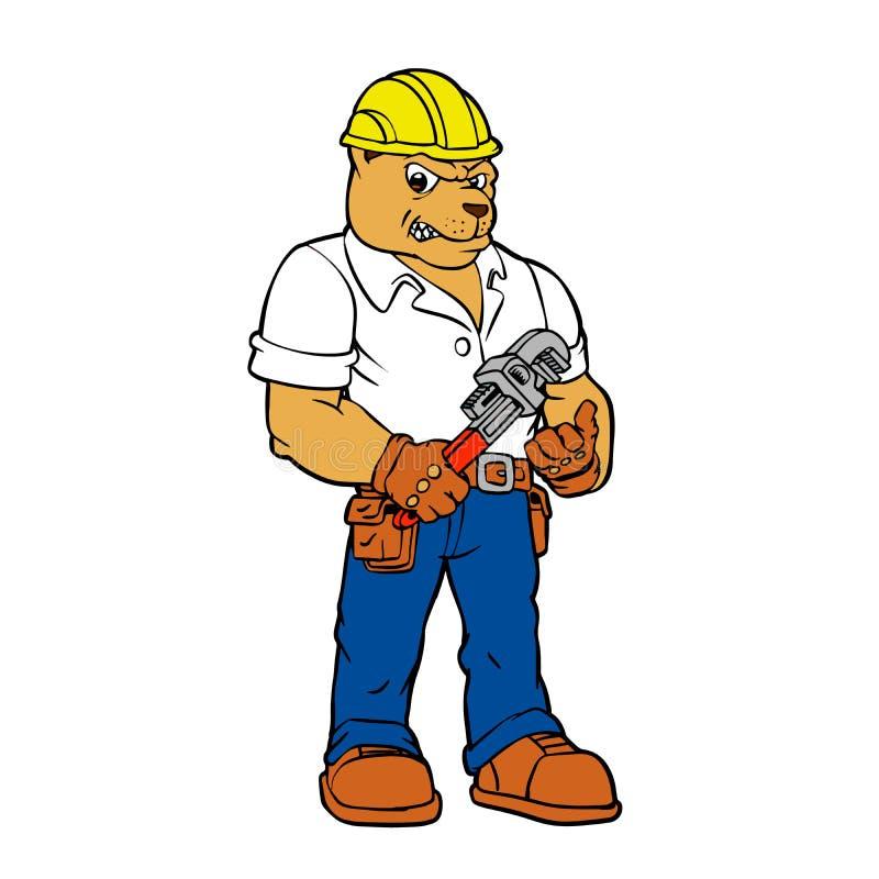 Вектор мультфильма талисмана бульдога разнорабочего ремонтника иллюстрация вектора