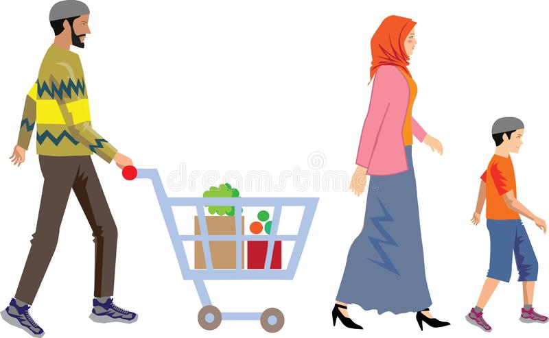 Вектор - мусульманские покупки семьи с тележкой иллюстрация штока