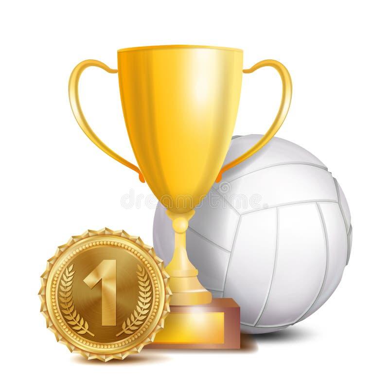 Вектор награды волейбола Предпосылка знамени спорта Белый шарик, чашка трофея победителя золота, золотое 1-ое медаль места 3d иллюстрация вектора
