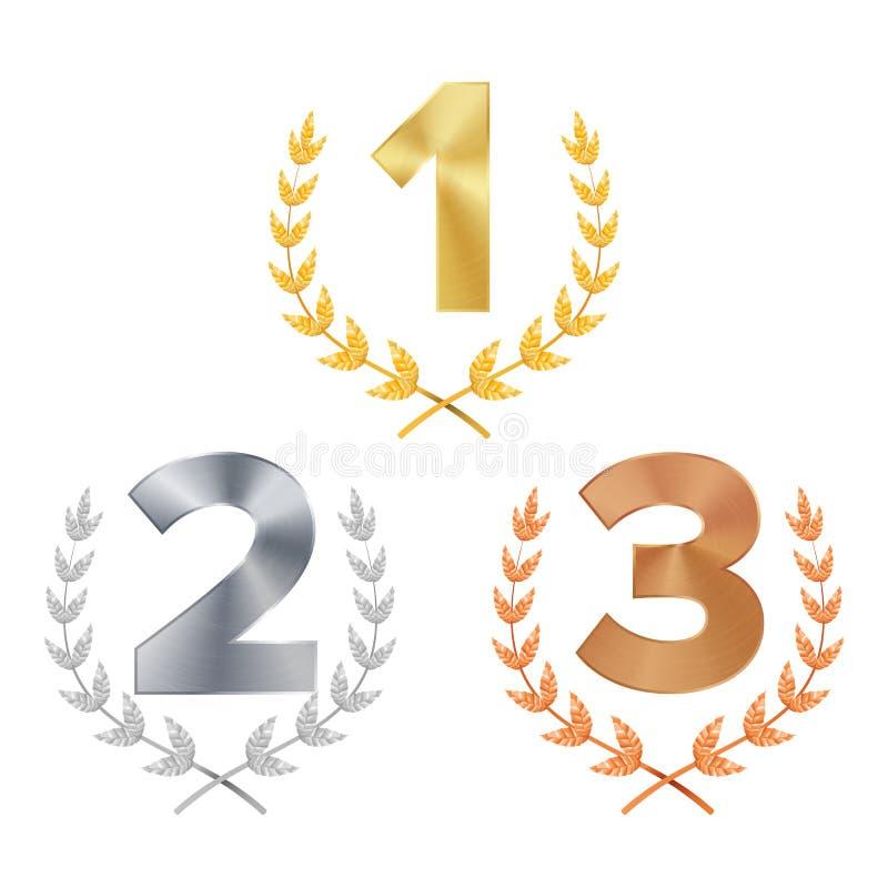 Вектор награды трофея установленный награженное Диаграммы 1, 2, 3 одного, 2, 3 в реалистическом лавровом венке бронзы серебра зол иллюстрация вектора