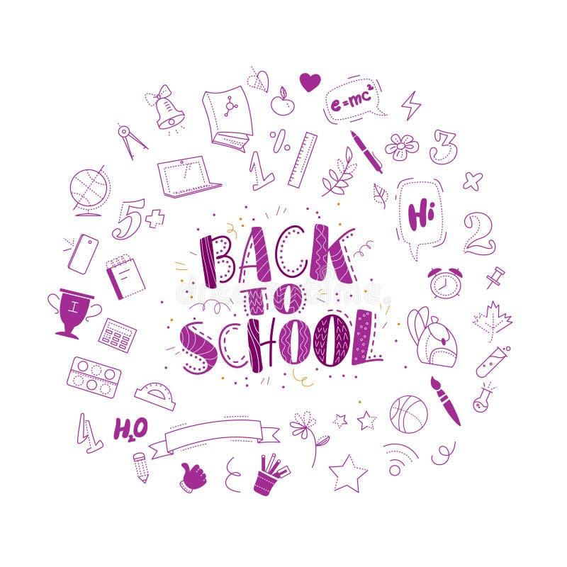 Вектор назад к значкам doodle школы установил иллюстрацию Нарисованное свободной рукой собрание элемента образования изолированно бесплатная иллюстрация