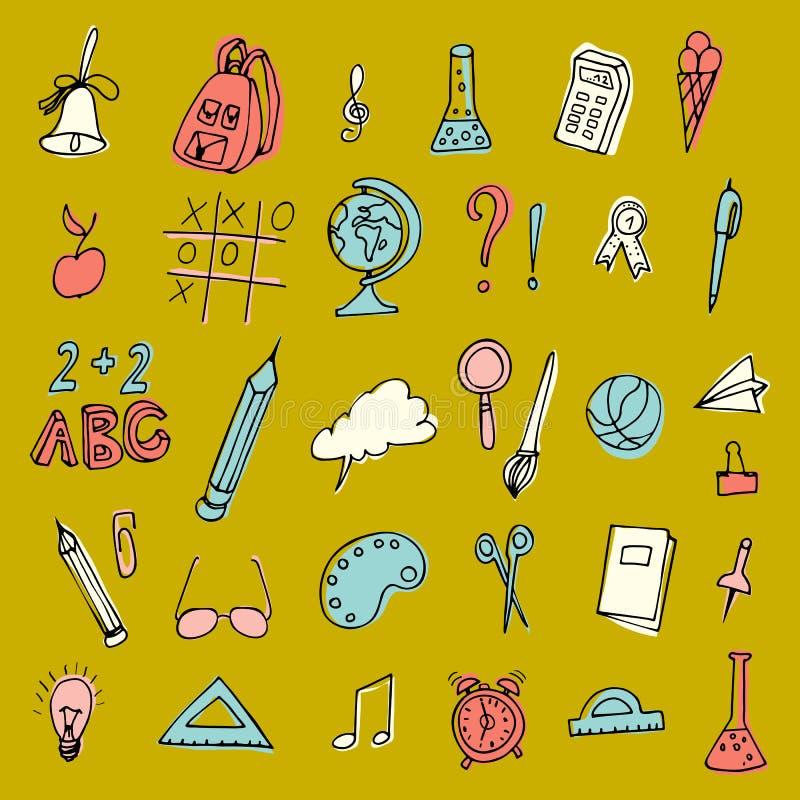 Вектор назад к комплекту школы Детали объекта средней школы Комплект школьных принадлежностей Нарисованная рука Doodles иллюстрац иллюстрация вектора