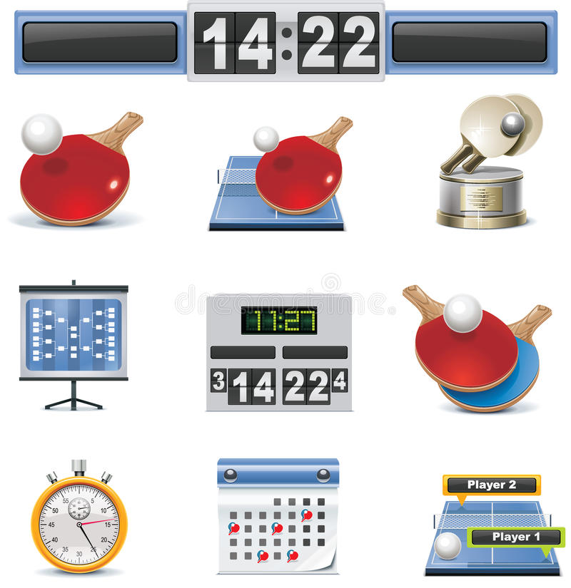 вектор настольного тенниса иконы установленный бесплатная иллюстрация