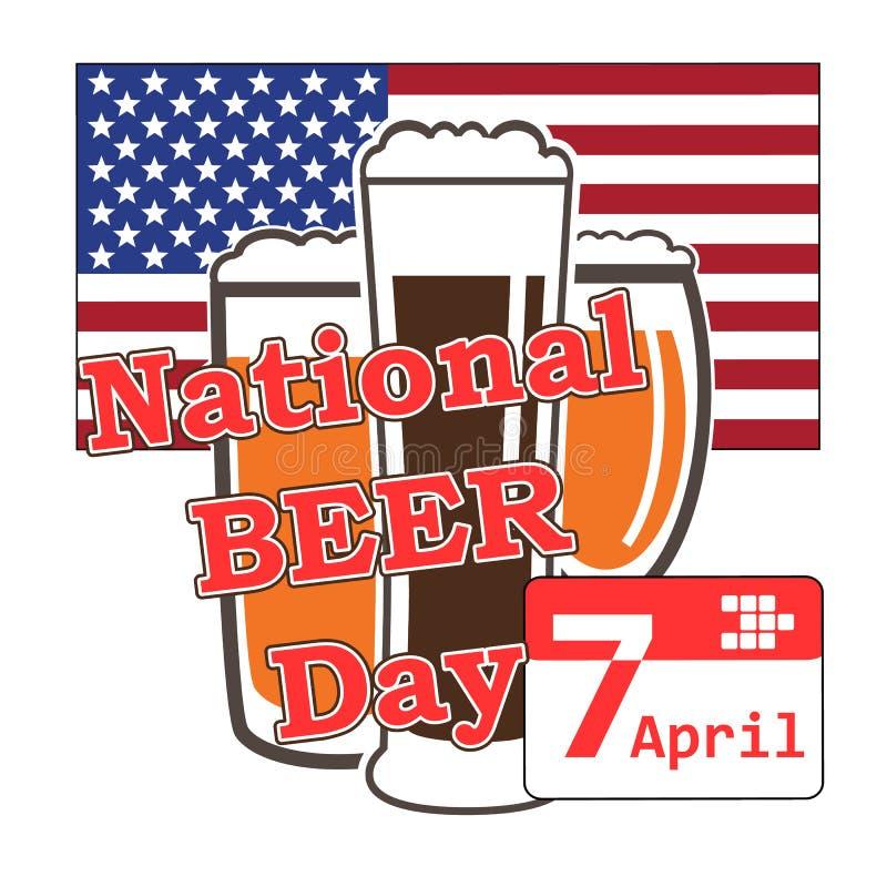 Вектор на национальный день пива в США 7-ое апреля с стеклом пива на b иллюстрация вектора