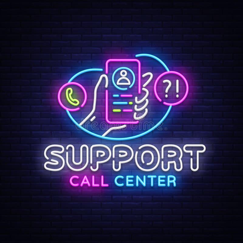 Вектор неоновой вывески поддержки Неоновая вывеска шаблона дизайна центра телефонного обслуживания, светлое знамя, неоновый шильд бесплатная иллюстрация