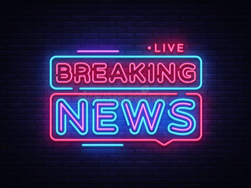 Вектор неоновой вывески последних новостей Неоновая вывеска шаблона дизайна последних новостей, светлое знамя, неоновый шильдик,  бесплатная иллюстрация