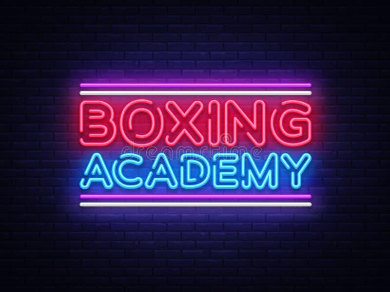 Вектор неоновых вывесок академии бокса Неоновая вывеска шаблона дизайна текста бокса, светлое знамя, неоновый шильдик, еженощная  бесплатная иллюстрация