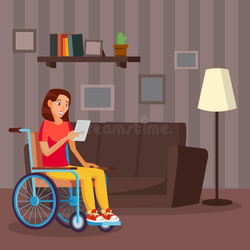 Вектор неработающей женщины Жить с инвалидностью Усмехаясь выведенная из строя женщина иллюстрация вектора