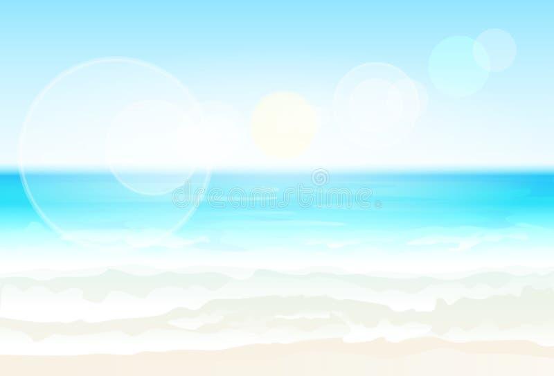 Вектор нерезкости летних каникулов пляжа песка берега моря иллюстрация вектора