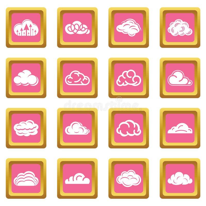 Вектор облака установленный значками розовый квадратный иллюстрация вектора