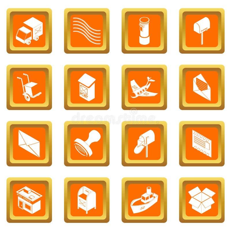 Вектор обслуживания столба установленный значками оранжевый квадратный иллюстрация вектора