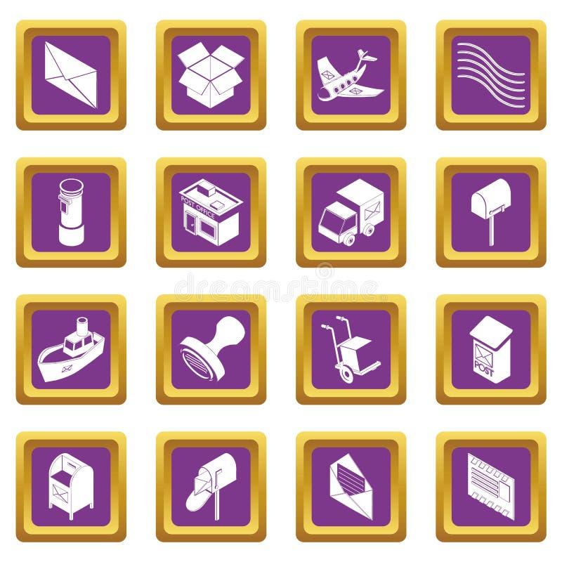 Вектор обслуживания столба установленный значками фиолетовый квадратный иллюстрация штока