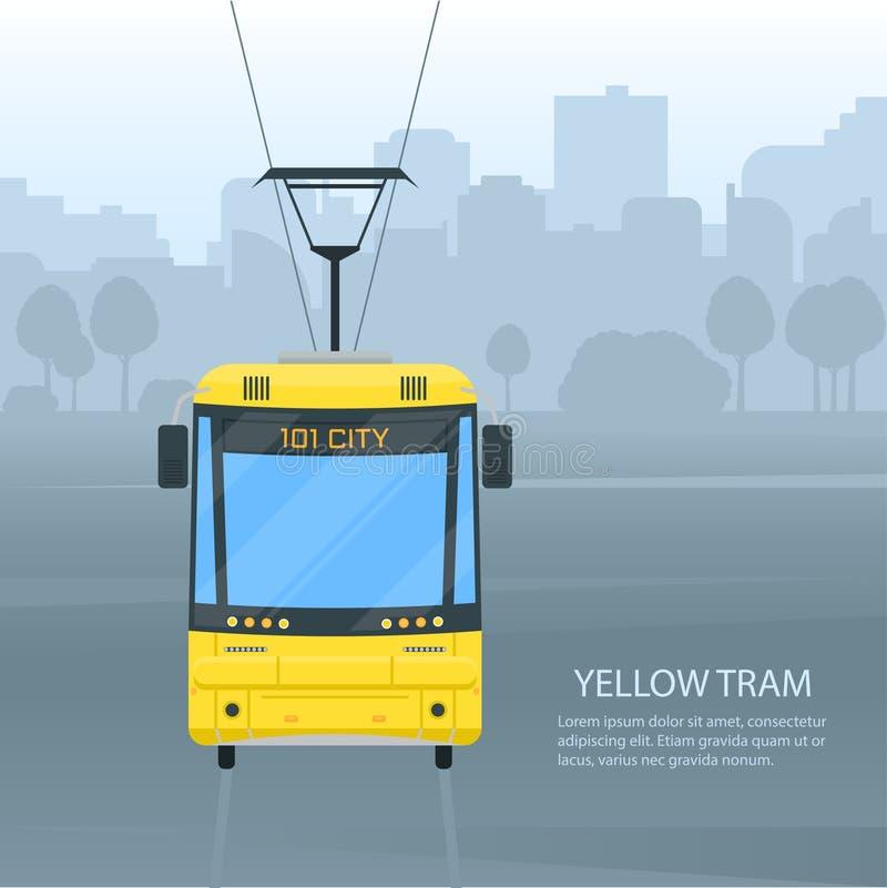Вектор общественного транспорта трамвая города иллюстрация вектора