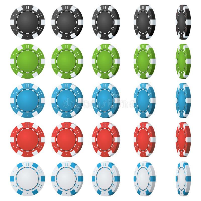 Вектор обломоков покера Углы сальто различные Установленной покрашенный классикой значок обломоков покера на белизне черная красн иллюстрация вектора