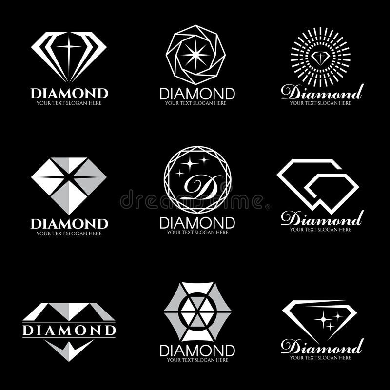 Вектор логотипа диаманта установил и изолирует на черной предпосылке бесплатная иллюстрация