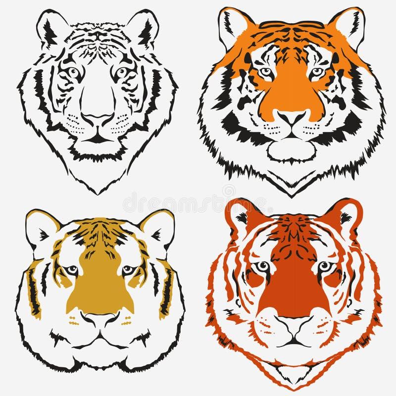 Вектор логотипа тигра установленный бесплатная иллюстрация