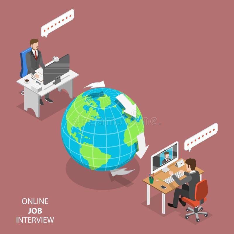 Вектор онлайн собеседования для приема на работу плоский равновеликий бесплатная иллюстрация