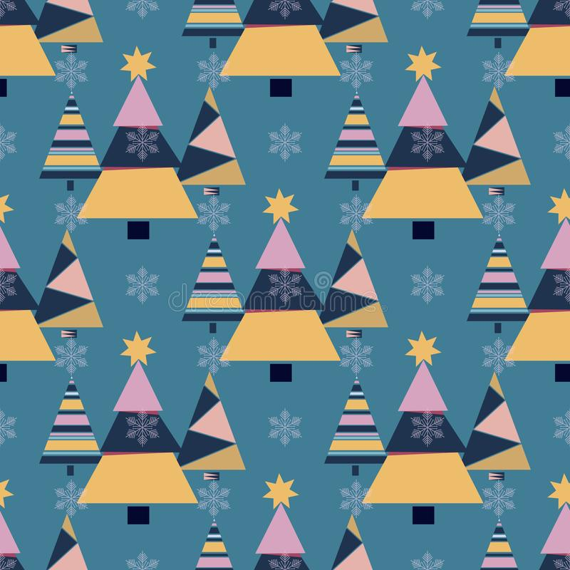 Вектор орнамента торжества звезды снега в декабре сезона дизайна ели праздника рождественской елки зимы снежинки иллюстрация вектора